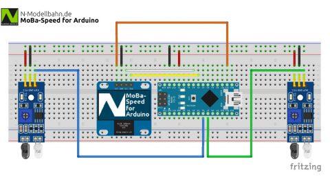 MoBa-Speed for Arduino Versuchsaufbau Breadboard