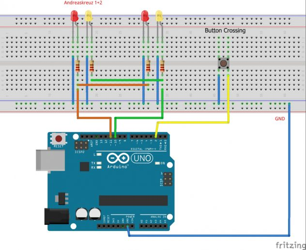 Anschluss der LEDs an den Arduino
