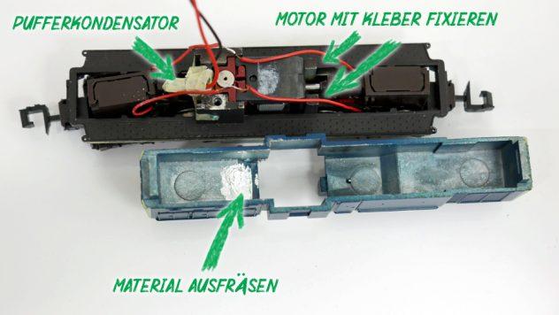 BR 290 mit eingesetztem Pufferkondensator über Motorwelle