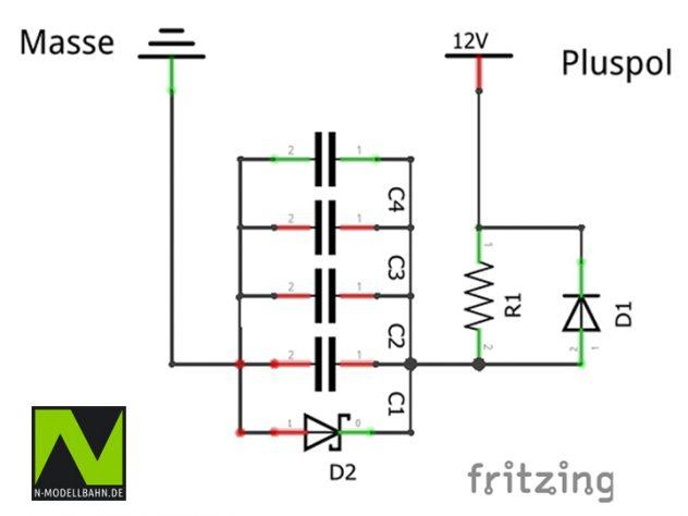 Pufferkondensator-Schaltung für 16V SMD Kondensatoren
